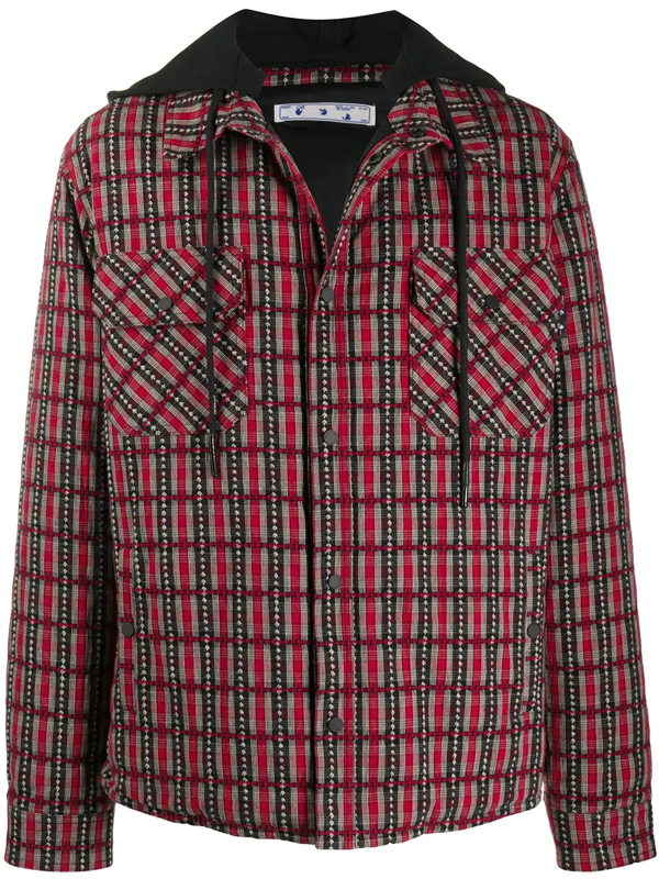 Off-white Check Hooded Jacket In Red