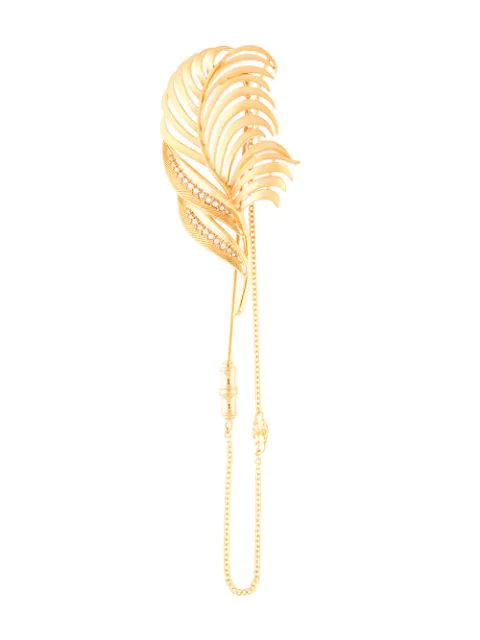 Dolce & Gabbana Crystal-embellished Palm Tree Brooch In Zoo00 Golden