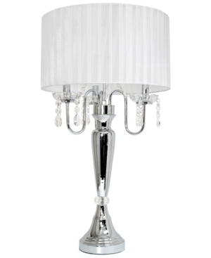 All The Rages Elegant Designs Trendy Romantic Sheer Shade Table Lamp With Hanging Crystals In White