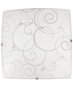 All The Rages Simple Designs Square Flush Mount Ceiling Light With Scroll Swirl Design In White
