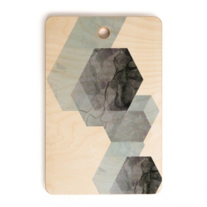 Deny Designs Neutral Marble Geometry Rectangle Cutting Board In Misc