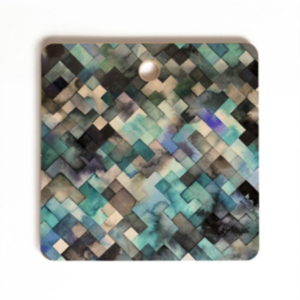 Deny Designs Moody Geometry Blue Sea Square Cutting Board In Misc