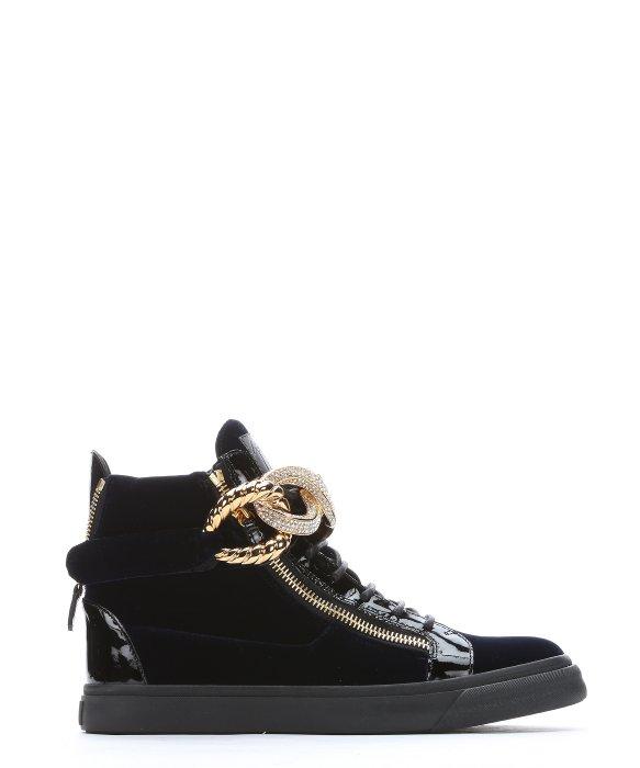 Giuseppe Zanotti Navy Velvet And Patent Leather 'london' High-top Sneakers In Navy / Black