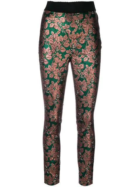 Dolce & Gabbana Floral Jacquard High-Waist Leggings, Pink/Green