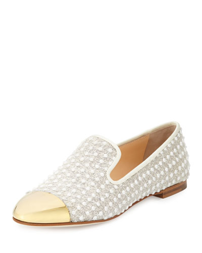 Giuseppe Zanotti Woman Embroidered Gauze And Embellished Leather Slippers White In Gold Pink