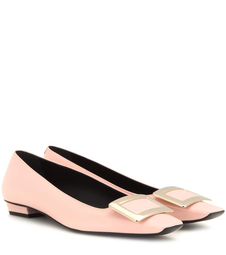 Roger Vivier 10Mm Trompette Leather Ballerina Flats, Pink