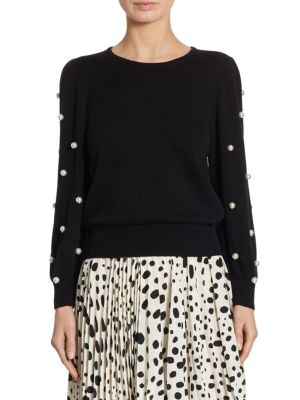 Marc Jacobs Faux Pearl-Embellished Merino Wool And Cashmere-Blend Sweater In Black