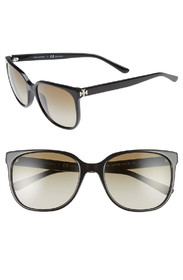 dff24c2f7199 Tory Burch 57Mm Gradient Sunglasses - Black In Black/Brown Gradient ...