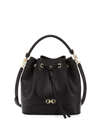 7043cdb333 Salvatore Ferragamo Millie New Gancini Icona Soft Bucket Bag