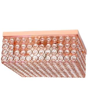 All The Rages Elegant Designs Elipse Crystal 2 Light Square Ceiling Flush Mount In Copper
