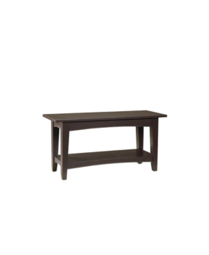 Alaterre Furniture Shaker Cottage Bench With Shelf, Chocolate