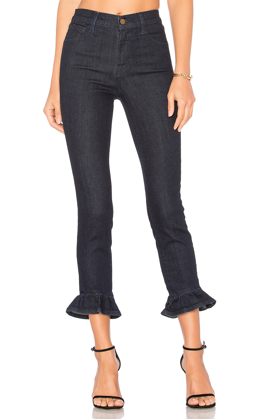 J Brand Ruby High-rise Ruffled Cropped Skinny Jeans/flourish