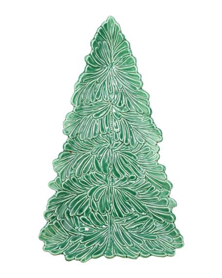 Vietri Lastra Holiday Figural Tree Small Platter In Green