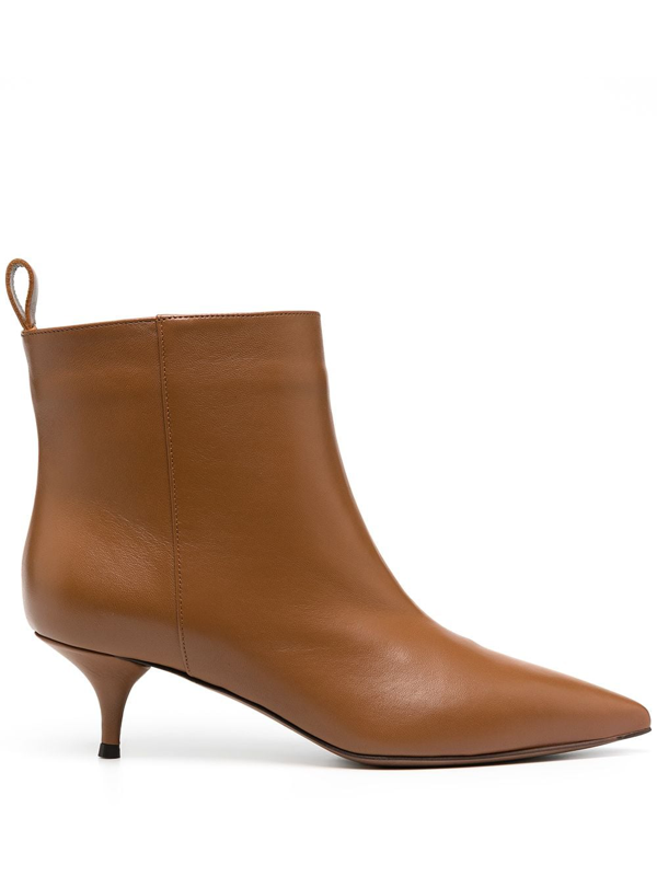 L'autre Chose Pointed Leather Ankle Boots In Brown