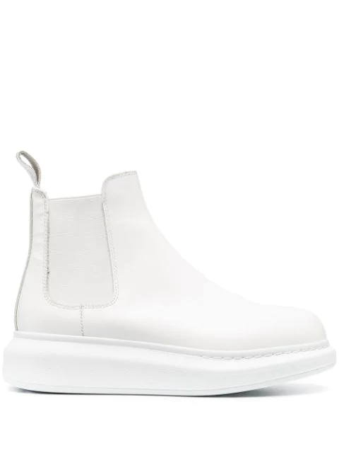 Alexander Mcqueen Leather Chelsea Boots In White
