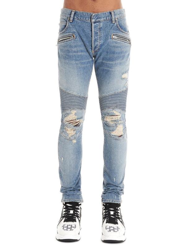 Balmain Men's Blue Cotton Jeans