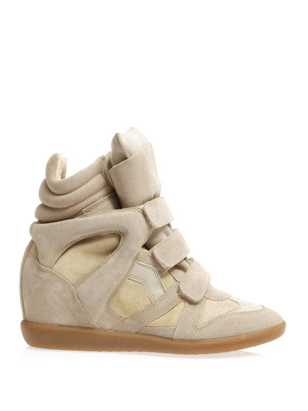 Isabel Marant Woman The Bekett Suede And Leather Wedge Sneakers Mushroom In Beige And Light-Beige