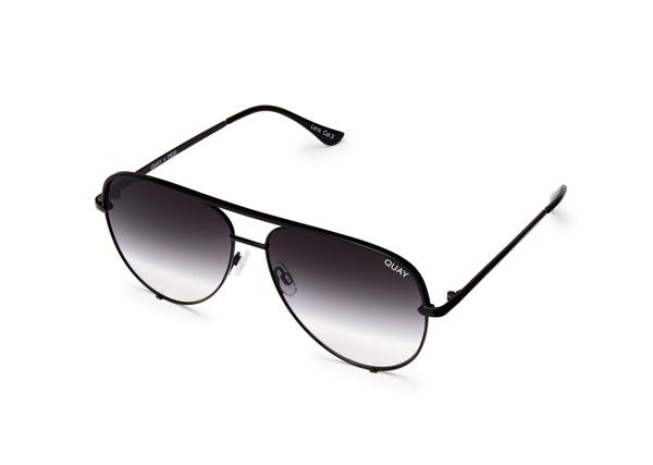 Quay High Key Black Aviator Sunglasses In Blk,fade