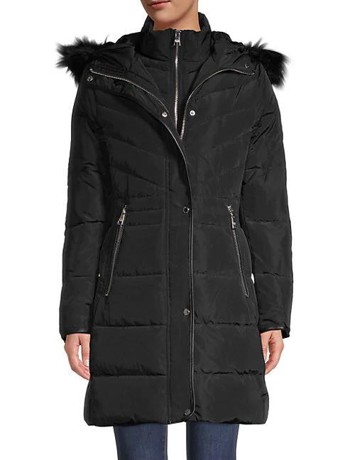 Karl Lagerfeld Faux Fur-trim Down Parka In Matte Black