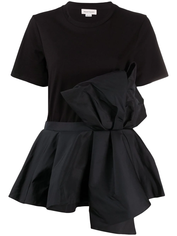 Alexander Mcqueen Bow And Volant Cotton T-shirt In Black