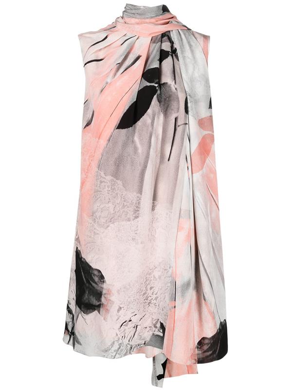 Alexander Mcqueen Trompe L'oeil Floral Print Scarf Neck Silk Dress In White