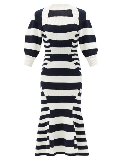 Alexander Mcqueen Square-neck Striped Wool-blend Sweater Dress In Blue