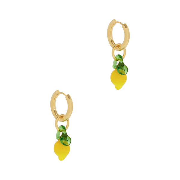 Sandralexandra Lemon 18kt Gold-plated Hoop Earrings In Yellow