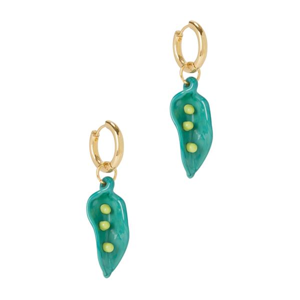 Sandralexandra Pea In A Pod 18kt Gold-plated Hoop Earrings In Green
