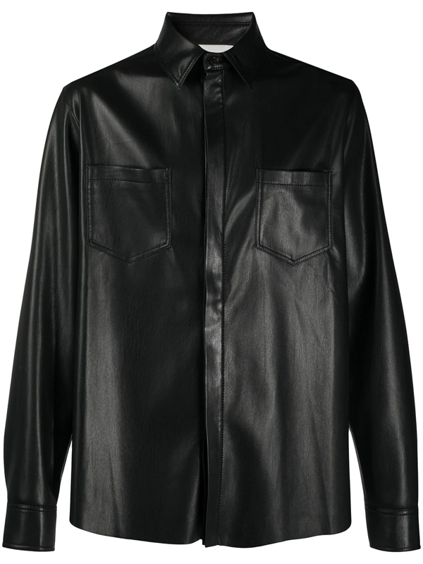 Nanushka Declan' Vegan Leather Shirt In Black