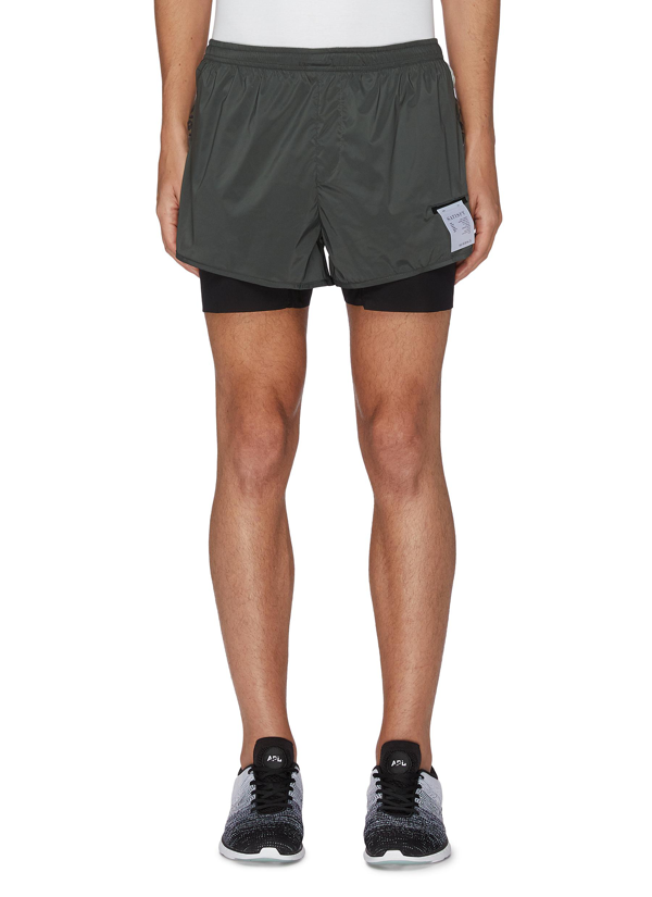 Satisfy Trail Long Distance Three Inch Leopard Print Underlay Shorts In Green,multi-colour