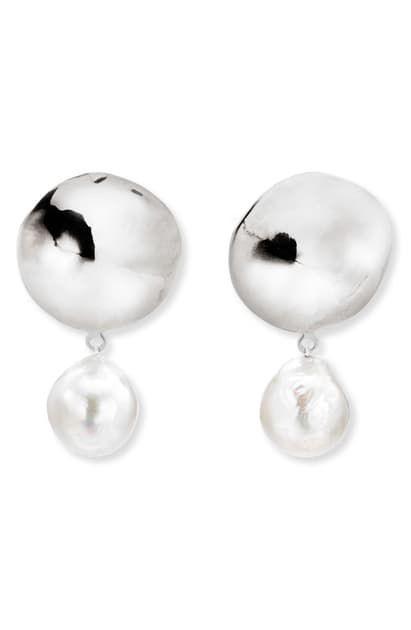 Agmes Stella Small Baroque Pearl Earrings In Sterling Silver