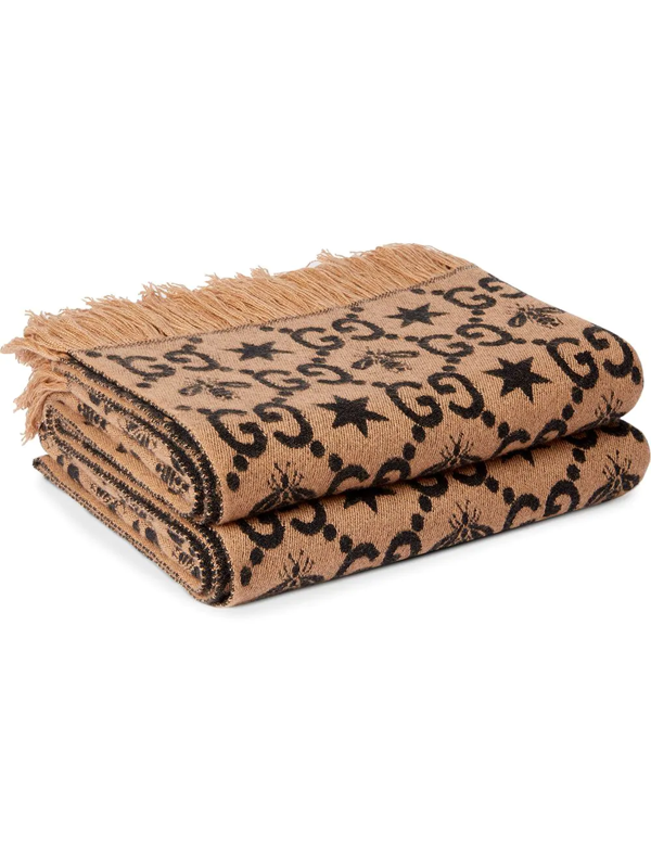 Gucci Gg Pattern Throw Blanket In Brown