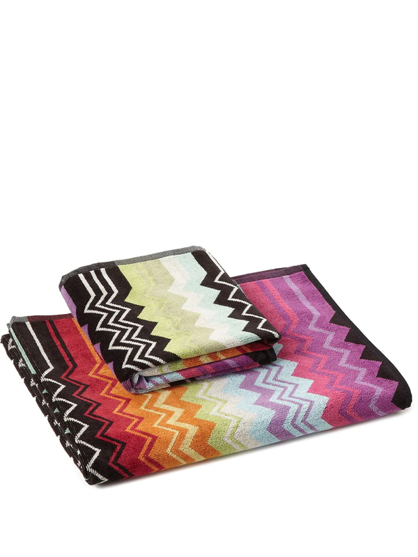 Missoni Giacomo Chevron Print Towels (set Of 2) In Orange