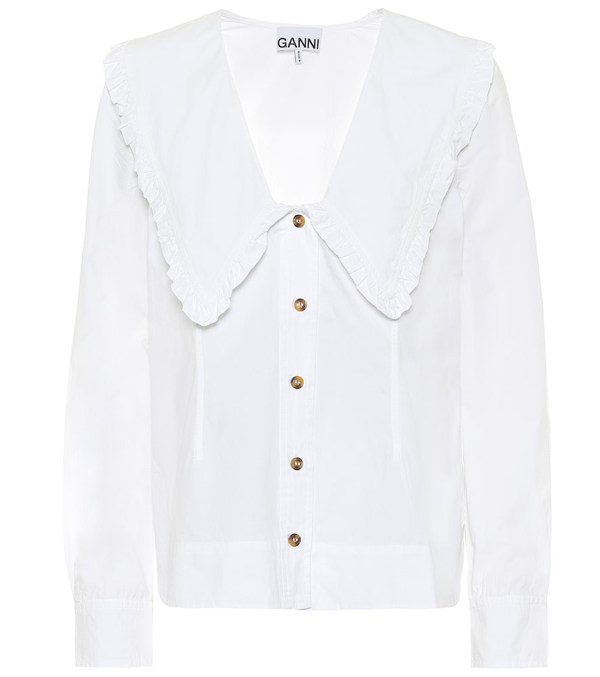 Ganni Ruffled Organic Cotton-poplin Shirt In White