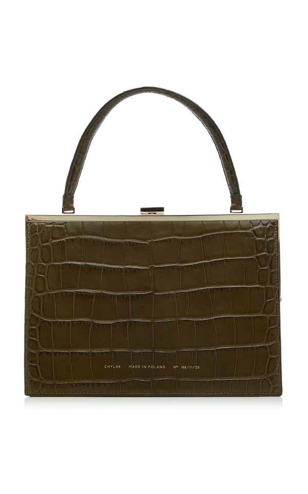 Chylak Croc-effect Leather Top Handle Bag In Green