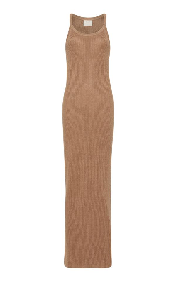 St. Agni Iman Ribbed-knit Linen Maxi Tank Dress In Brown