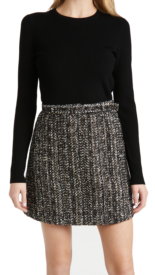 Theory Women's Long-sleeve Ribbed Combo Knit Dress In Black Multi