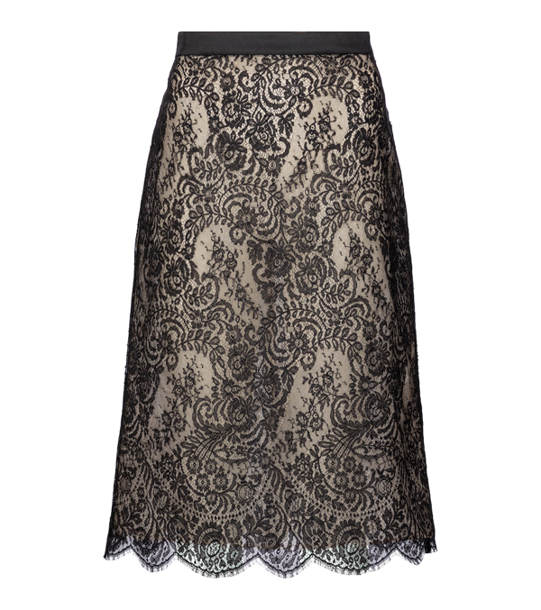 Alexander Mcqueen Cotton-blend Lace Midi Skirt In Black