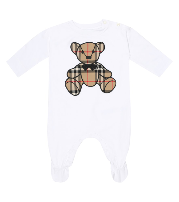 Burberry Babies' Bear Print Cotton Jersey Romper In White