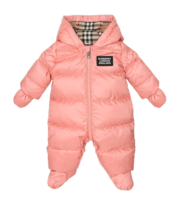 Burberry Baby Girl's River Down Puffer Footie Coat In Pink