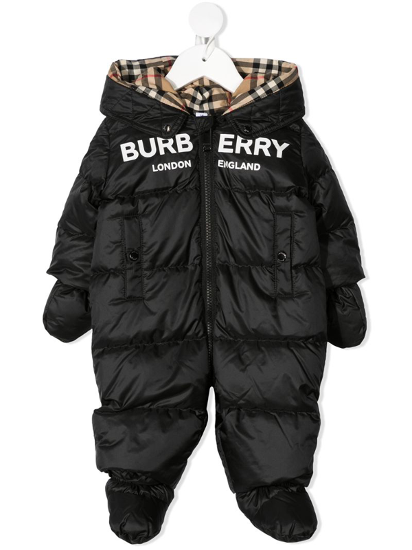 Burberry Babies' Logo Print Nylon Down Romper In Black
