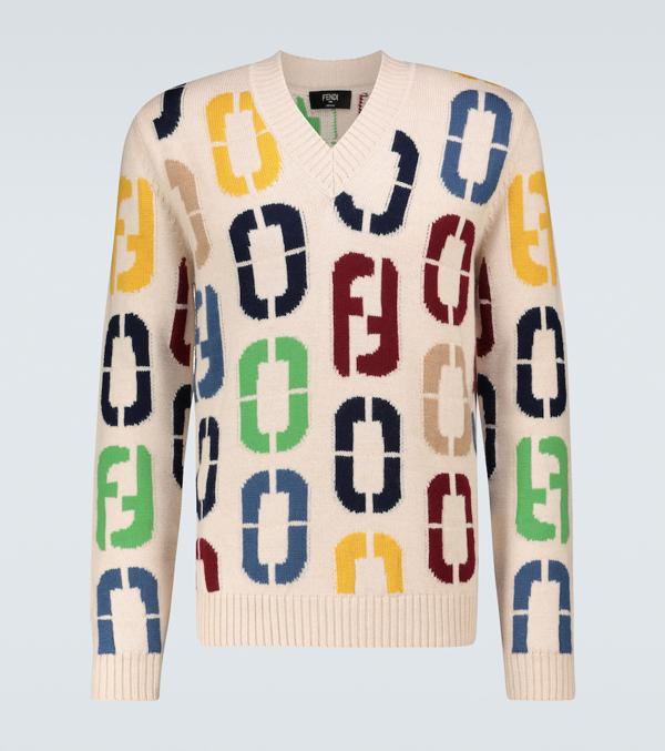 Fendi Intarsia Knitted Wool Sweater In Multicoloured