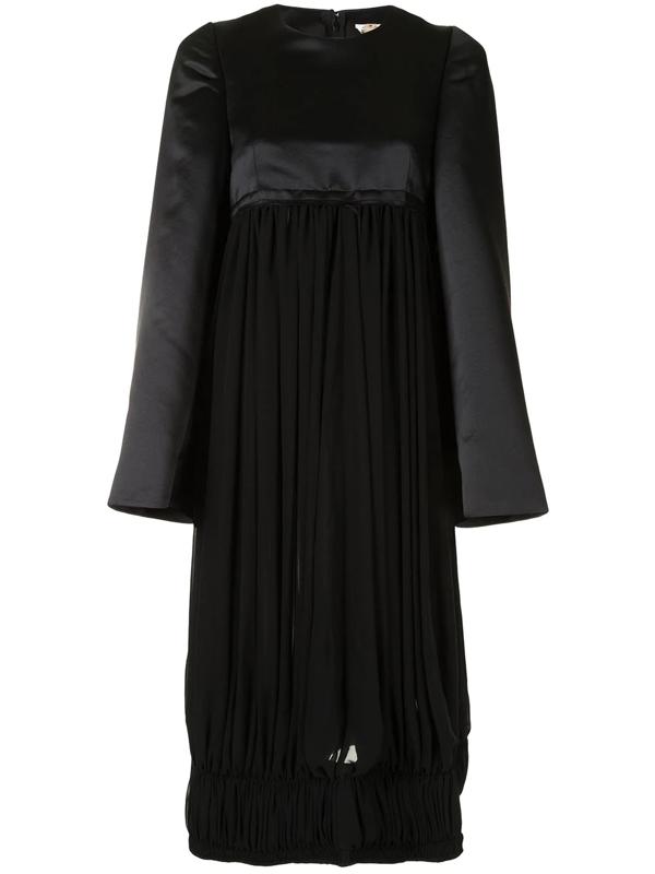 Comme Des Garçons Oversized Panelled Midi Dress In Black