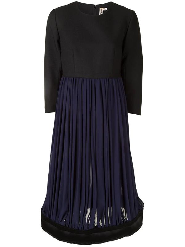 Comme Des Garçons Panelled Colour-block Dress In Black