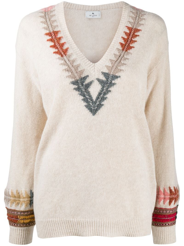 Etro Folk Style Wool Sweater In Beige In Neutrals