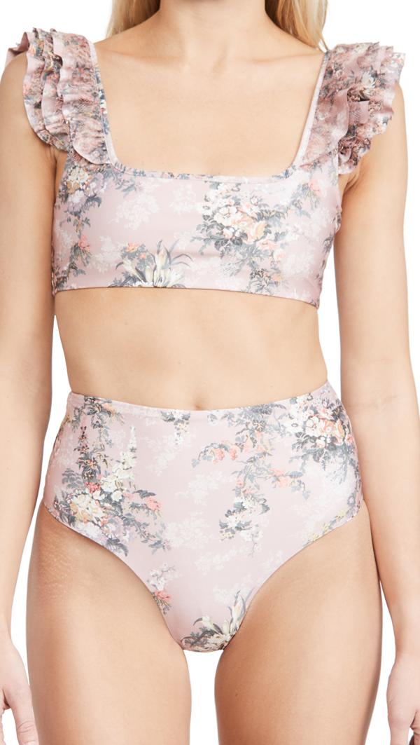 Agua Bendita Arielle Papier Bikini Top In Rose