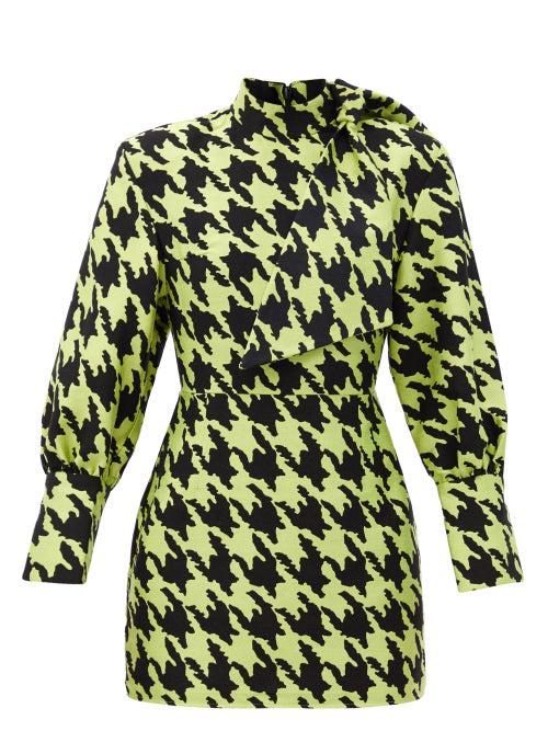 Elzinga Neck-tie Houndstooth-jacquard Mini Dress In Green