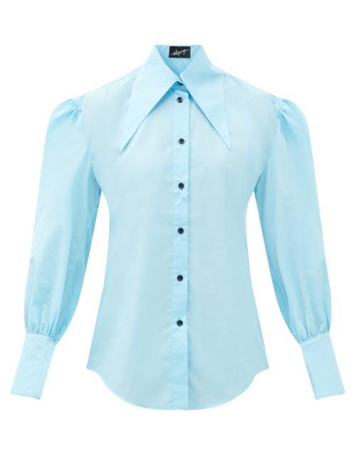 Elzinga Gathered-sleeve Cotton-blend Poplin Blouse In Blue