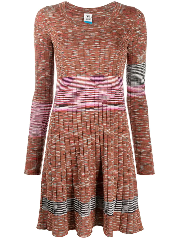 M Missoni Ribbed Knit Dress In Brown