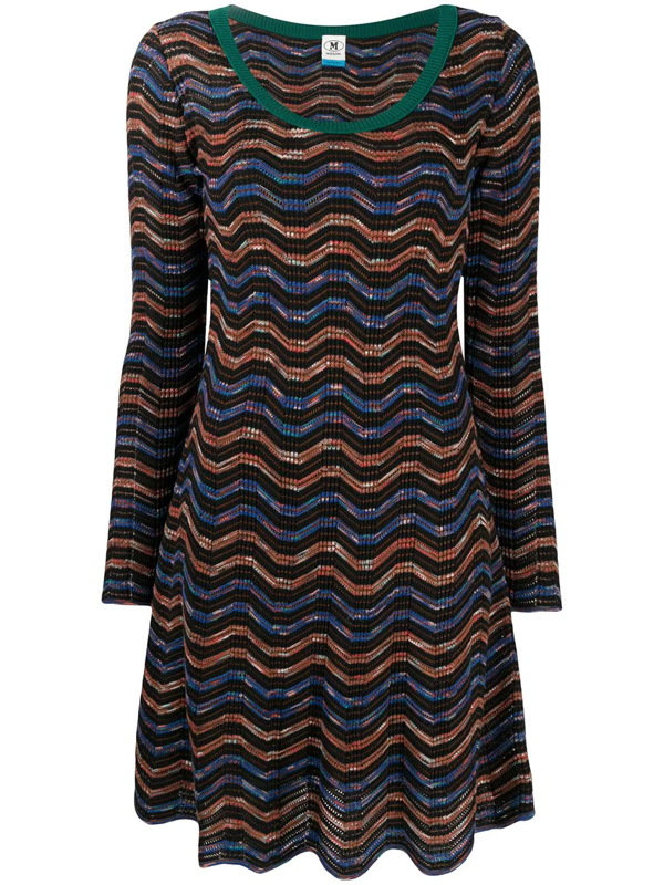 M Missoni Wave Knit Dress In Blue